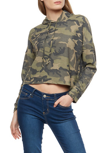 Cropped Camo Hooded Sweatshirt,CAMOUFLAGE,large