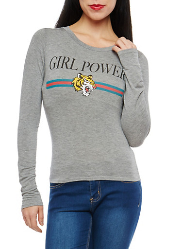 Girl Power Graphic Long Sleeve T Shirt,HEATHER  MED,large