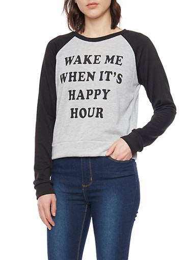 Raglan Top with Wake Me When Its Happy Hour Print,HEATHER,large