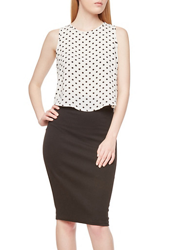 Polka Dot Crop Top with Back Zipper,WHT-BLK,large