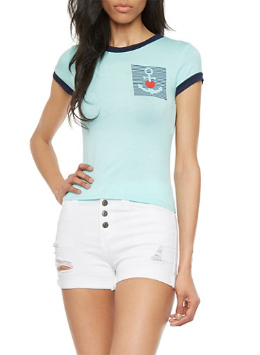 Anchor Heart Graphic Top,MINT/NAVY,large