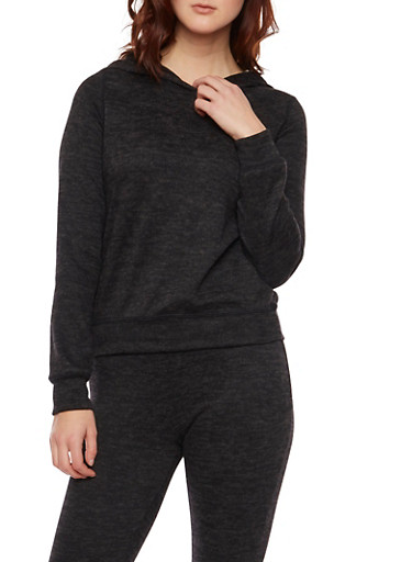 Hoodie in Marled Knit,BLACK,large