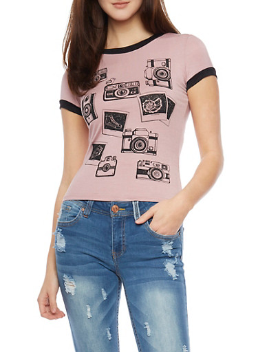 Camera Graphic Ringer T Shirt,MAUVE,large