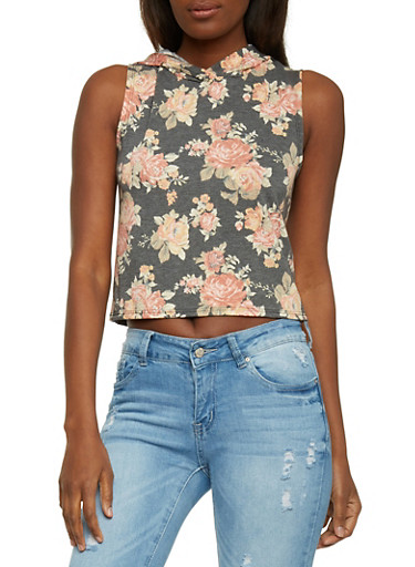 Hooded Floral Crop Top,BLACK,large