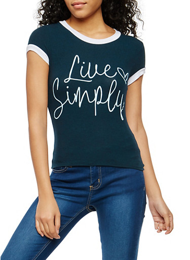 Live Simply  Graphic T Shirt,TEAL,large