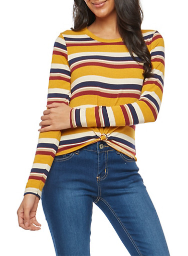 Striped Knot Front Knit Top,MUSTARD,large