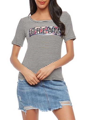 Dream Graphic Striped T Shirt,BLACK/WHITE,large