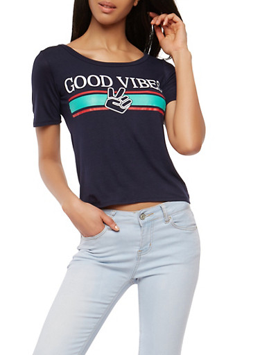 Good Vibes Graphic T Shirt,NAVY,large