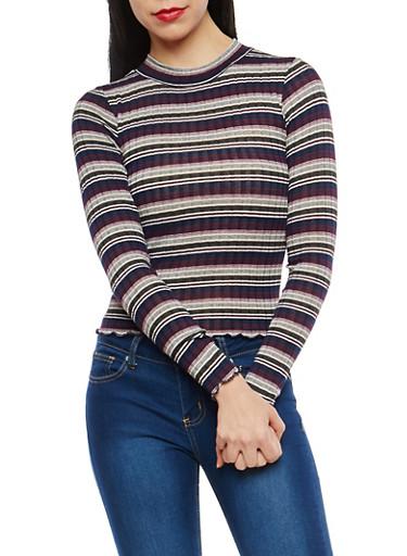 Rib Knit Striped Top,NAVY,large