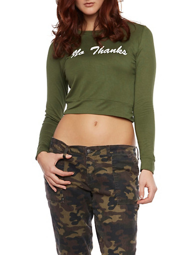 Long Sleeve Crop Top with No Thanks Graphic,OLIVE,large