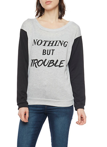 Nothing But Trouble Graphic Color Block Sweatshirt,HEATHER,large