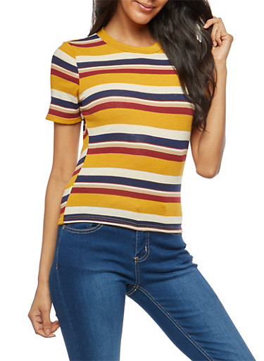 Striped Knit Top,MUSTARD,large