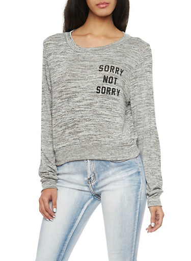 Marled Knit Top with Sorry Not Sorry Print,HEATHER,large