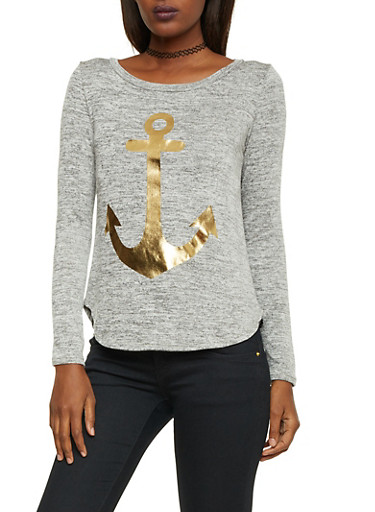 Marled Knit Top with Anchor Graphic,HEATHER GOLD,large