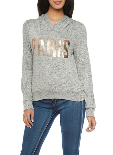 Marled Knit Hooded Top with Paris Foil Print,HEATHER,large
