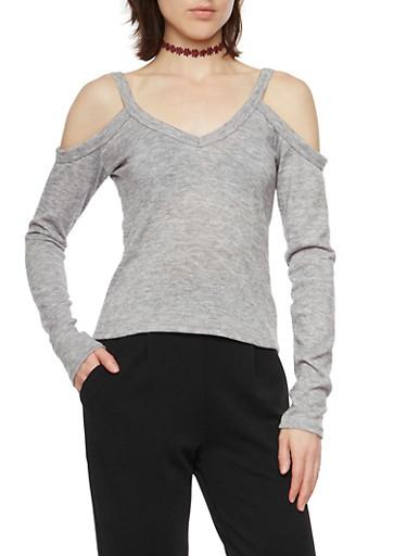 Cold Shoulder Top with V Neck,HEATHER,large