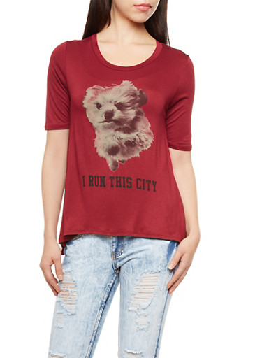 Puppy Graphic Top,BURGUNDY,large