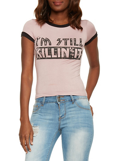 Graphic Killin It Ringer T Shirt,MAUVE,large