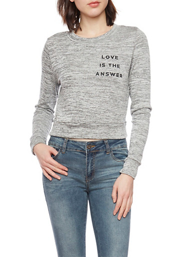 Cropped Marled Sweatshirt with Love Is the Answer Graphic,HEATHER,large