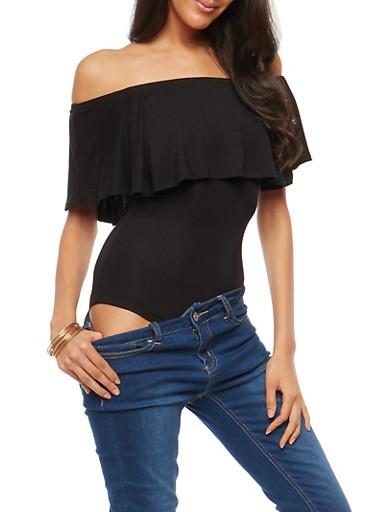 Solid Off the Shoulder Thong Bodysuit,BLACK,large