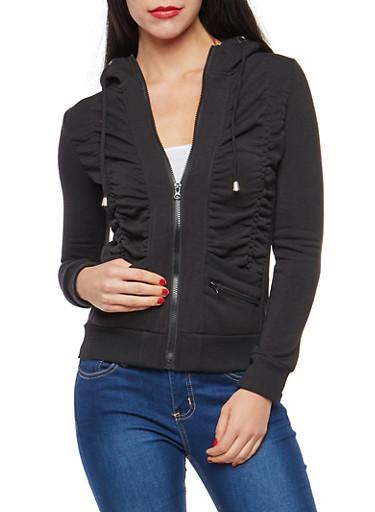 Fleece Lined Ruched Zip Up Sweatshirt,BLACK,large