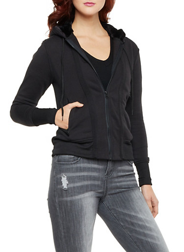 Zip Front Hoodie with Faux Fur Lining,BLACK,large