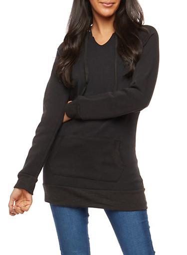 Hooded Fleece Tunic Sweatshirt,BLACK,large