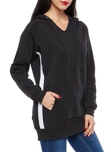 Side Stripe Fleece Lined Tunic Sweatshirt,BLACK,large