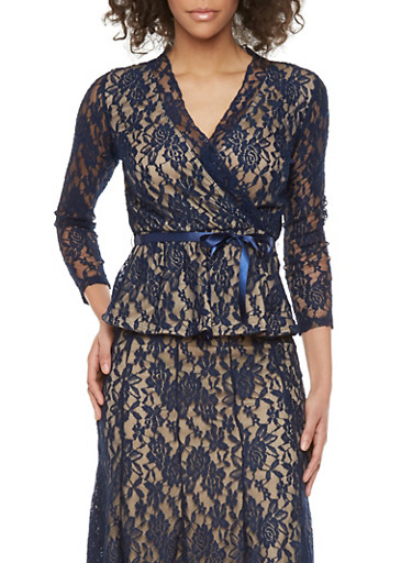 Lace Surplice Top with Sheer Back and Self Tie Satin Belt,NAVY/KHAKI,large