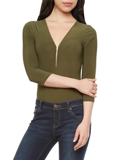 Three Quarter Sleeve Bodysuit with Zippered V-Neckline,OLIVE,large