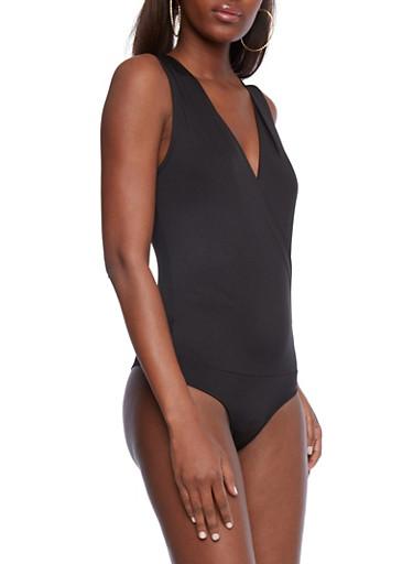 Surplice Front Bodysuit,BLACK,large