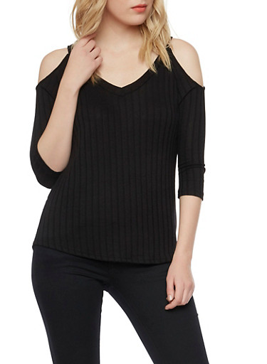Rib Knit Cold Shoulder Top,BLACK,large