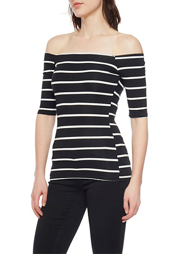 Off the Shoulder Striped Top,BLACK/WHITE,large