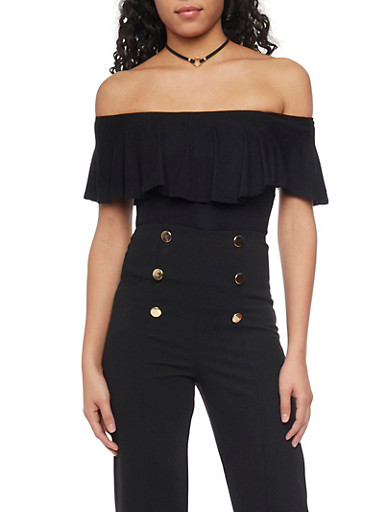 Off The Shoulder Ruffled Top,BLACK,large