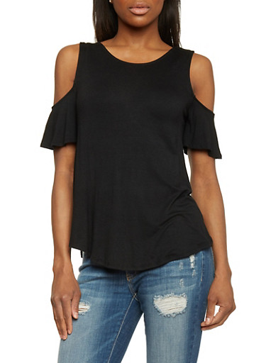 Solid Flutter Sleeve Cold Shoulder Top,BLACK,large