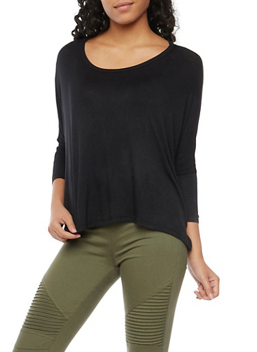 Knit Top with Dolman Sleeves,BLACK,large