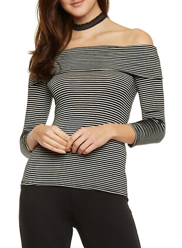 Striped 3/4 Sleeve Off The Shoulder Top,BLACK/WHITE,large