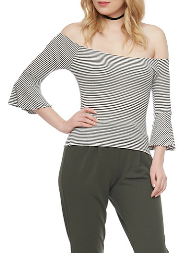 Hairline Striped Off the Shoulder Top,WHITE BLACK,large