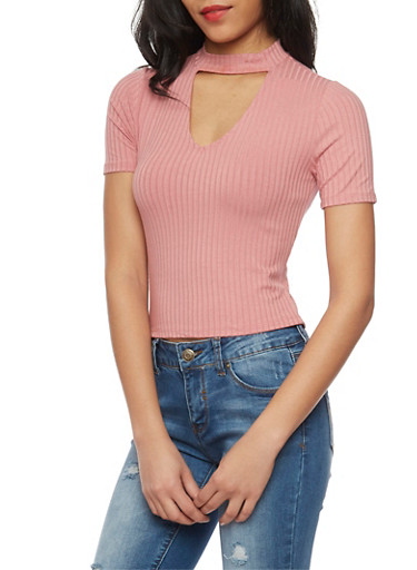 Short Sleeve Rib Knit Choker Top with Keyhole,ROSE,large