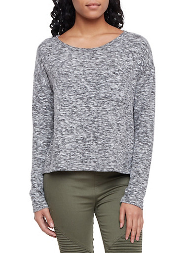 Marled Top with Long Sleeves and Scoop Neck,HEATHER,large