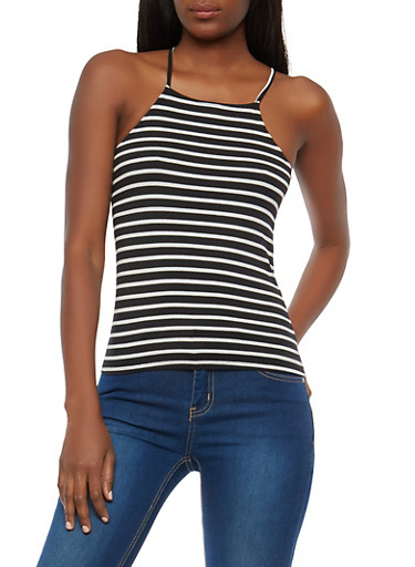 Striped Tank Top,BLACK/WHITE,large