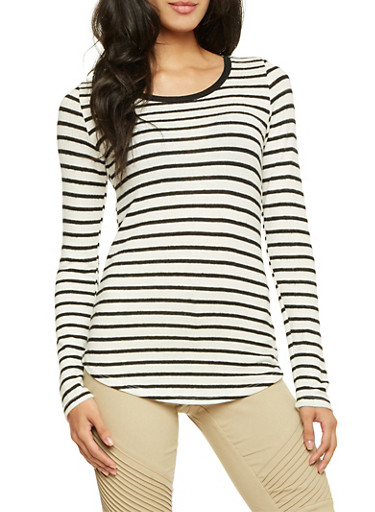 Striped Sweater with Scoop Neck,WHT-BLK,large