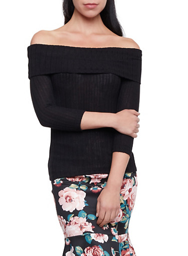 Off the Shoulder Top in Ribbed Knit,BLACK,large