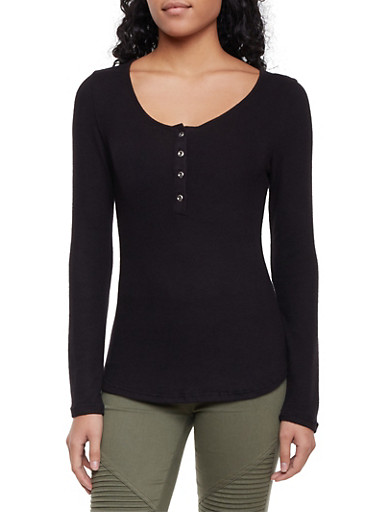 Buttoned Scoop Neck Top in Fuzzy Knit,BLACK,large