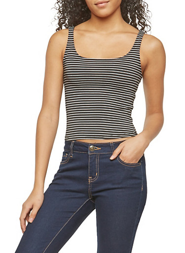 Striped Tank Top,BLACK/WHITE,large