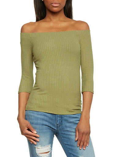 Rib Knit 3/4 Sleeve Off The Shoulder Top,OLIVE,large