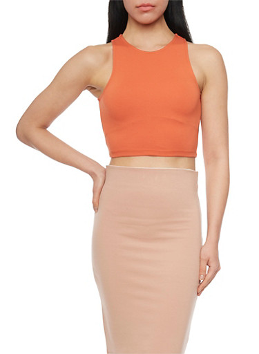 Sleeveless Crew Neck Crop Top,RUST,large