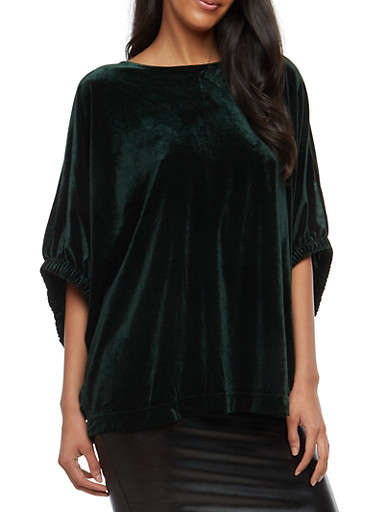 Velvet Dolman Sleeve Top,HUNTER,large