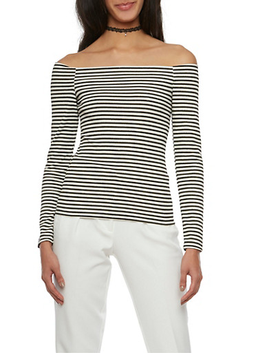 Striped Off the Shoulder Top,BLACK/WHITE,large