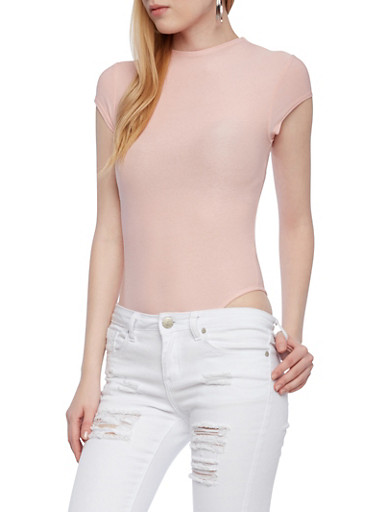 Solid Bodysuit with Crew Neck and Cap Sleeves,BLUSH,large